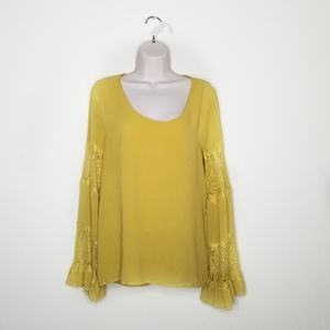 UO: Entro: Mustard Sheer Laced long Sleeve